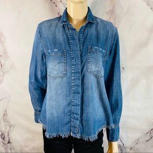 Cloth & stone lyocell raw hem hi-low shirt sz s
